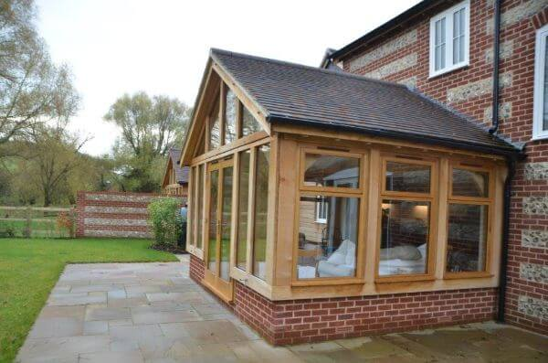 A Classic Oak Frame Garden Extension on a New Build
