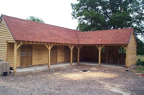 Bespoke Built L Shaped Oak Stable Building