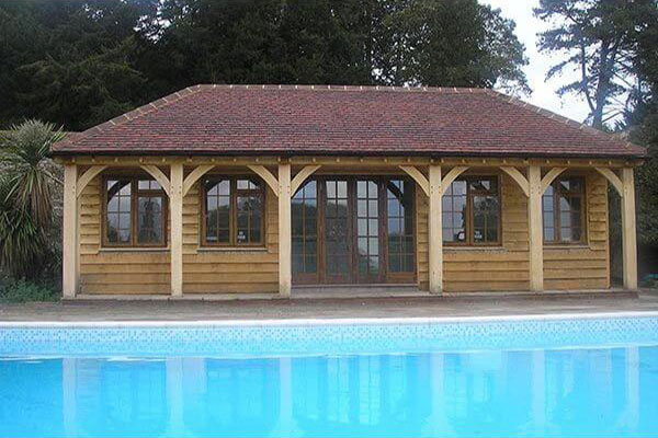 Bespoke Oak Poolhouse with 4 Windows and Double Doors