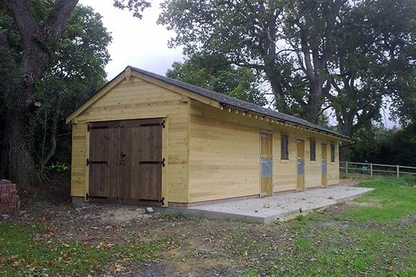 Oak Stable with Three Bays and Store