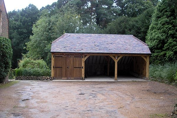 Oak Triple Bay Garage